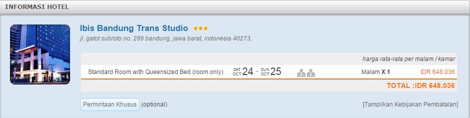 Harga kamar Ibis Trans Studio Bandung di Nusatrip