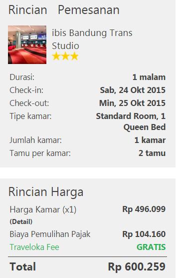 Rincian tarif kamar Ibis Trans Studio Bandung di Traveloka